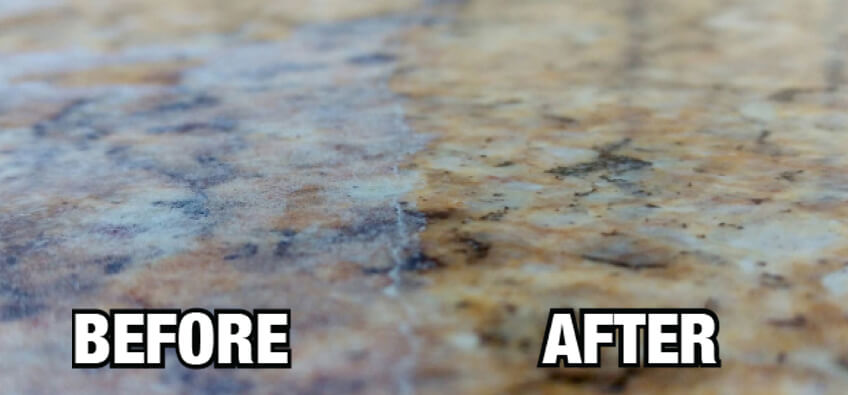 THE PROCESS OF CLEANING AND SEALING GRANITE OR QUARTZ COUNTERTOPS: